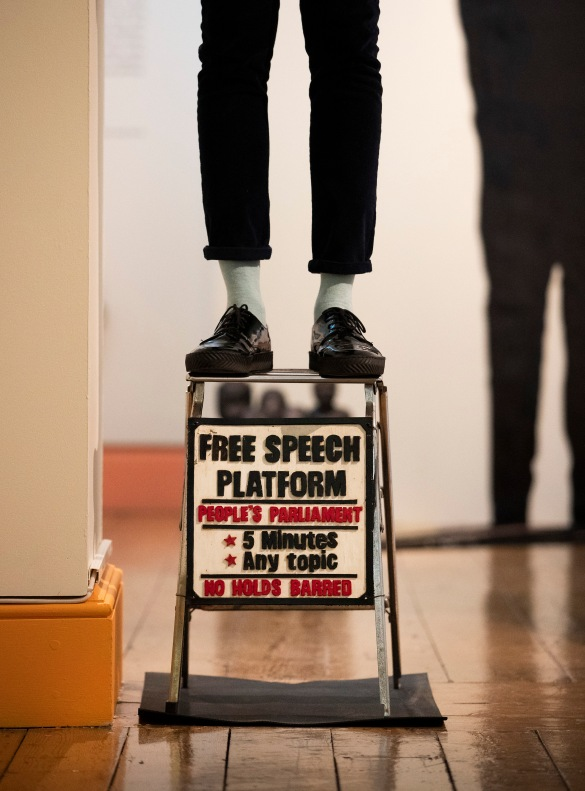 Ishmahil Blagrove Jr's Free Speech Platform as part of Get Up, Stand Up Now ©Peter Macdiarmid