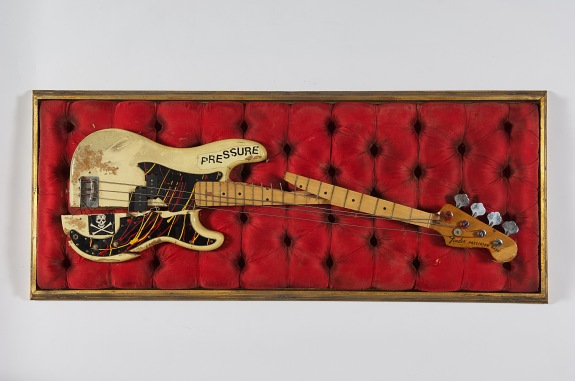 Simonon's Fender Precision bass was damaged on stage at The Palladium in New York City on 20th September 1979, as Simonon smashed it on the floor in an act of spontaneous and complete frustration © The Clash