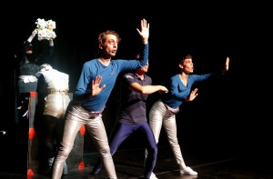 Members of Cut Mustard Theatre performing 2100: A Space Novelty dressed in mock Star Trek style outfits