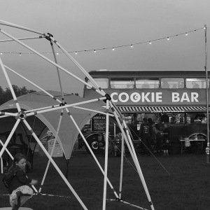 Double decker bus converted into a cookie bar
