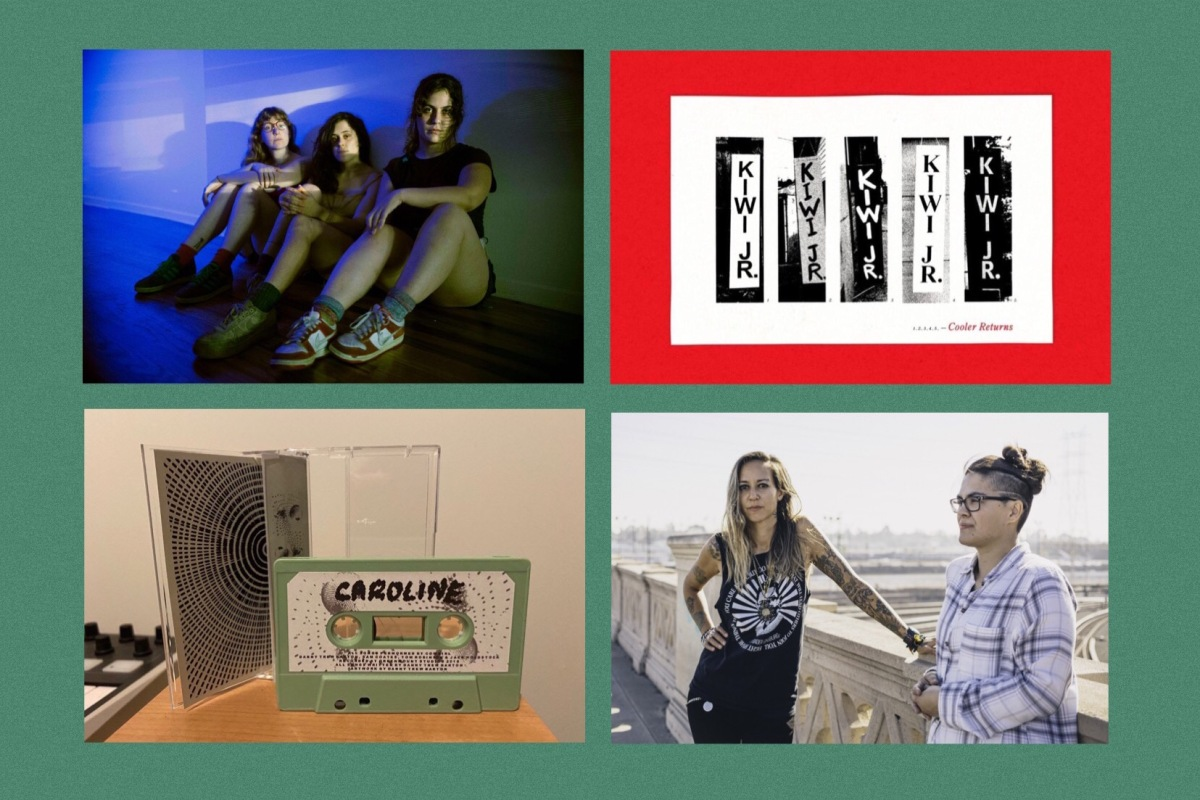 Montage of 4 pictures - band shot of Palberta sitting on the floor, album cover for Kiwi Jr (band name in black and white lettering), cassette version of Cowgirl single and band shot of Tarah Who leaning on railings