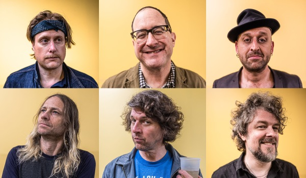 Head shots of the 6 band members from The Hold Steady